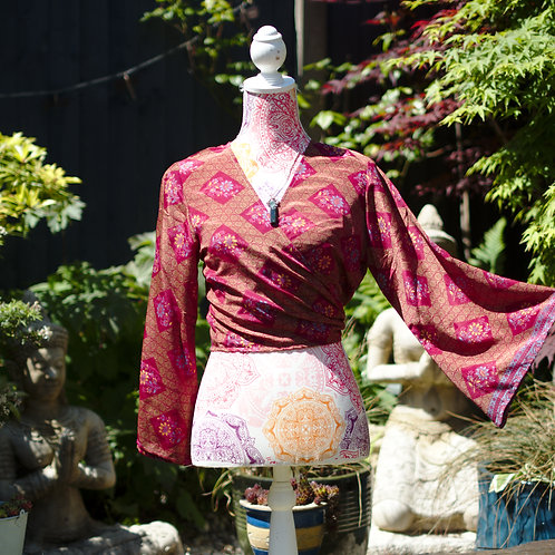 Recycled Sari Silk Trumpet Sleeve Top Cerise