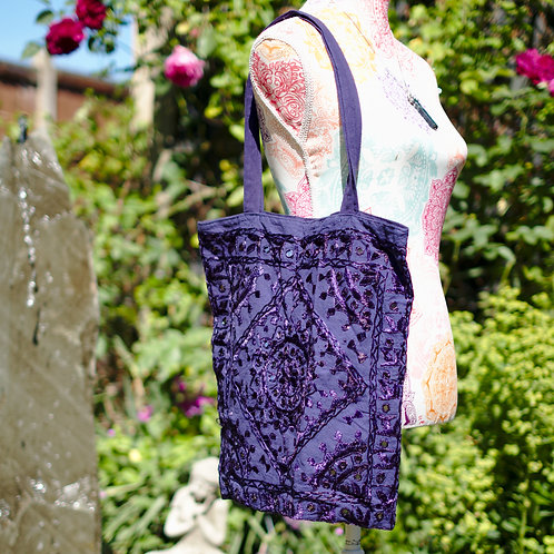 Cotton Mirrored Tote Bag Navy