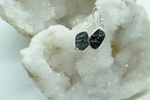 Raw Black Tourmaline Sterling Silver Drop Earrings TB