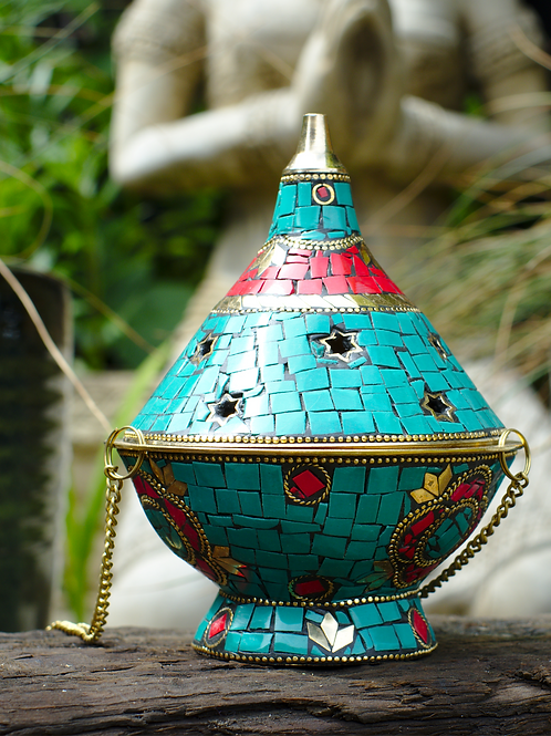 Inlaid Brass Incense Censer Turquoise 1