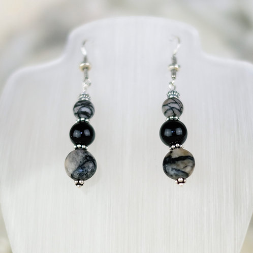 Picture Jasper and Onyx Silver Earrings