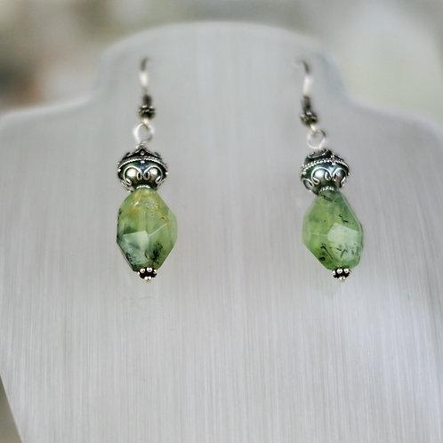 Prehnite and Silver Earrings