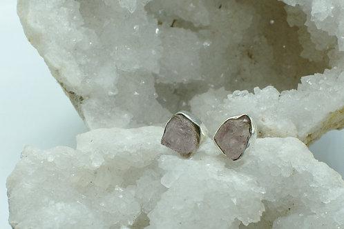 Raw Morganite Sterling Silver Stud Earrings MB