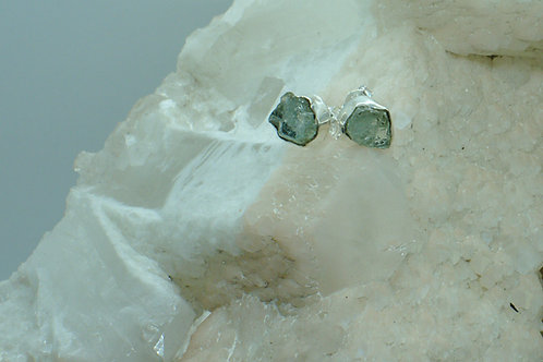 Raw Aquamarine Sterling Silver Stud Earrings AQD