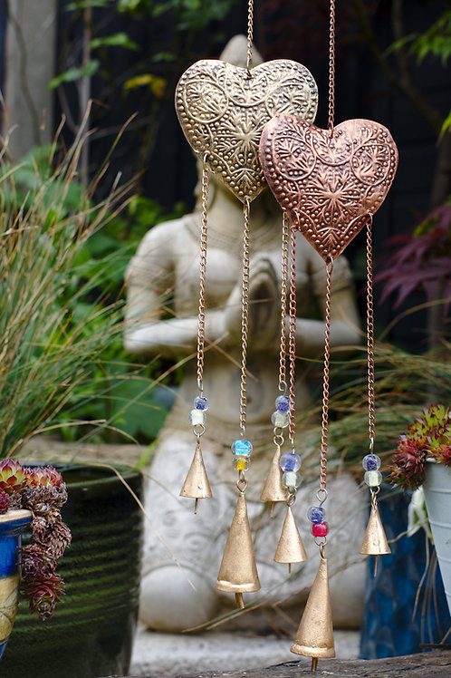 Brass or Copper Hanging Heart Decoration