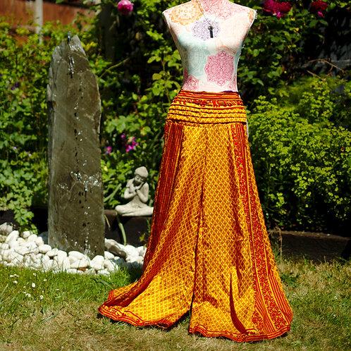Recycled Sari Silk Umbrella Trousers Gold