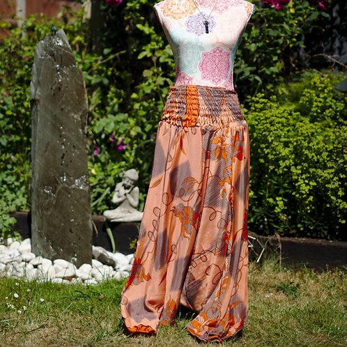 Recycled Sari Silk Harem Trousers Orange/Grey