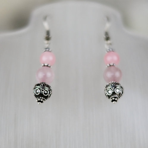 Rose Quartz, Pink Opal and Silver Bali Earrings