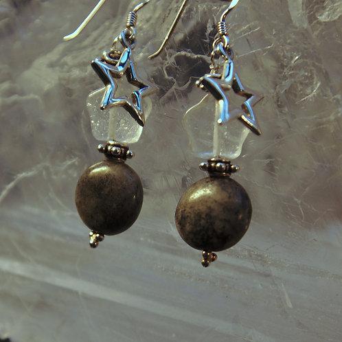 Grey Picture Jasper & Clear Quartz Sterling Silver Star Drop Earrings