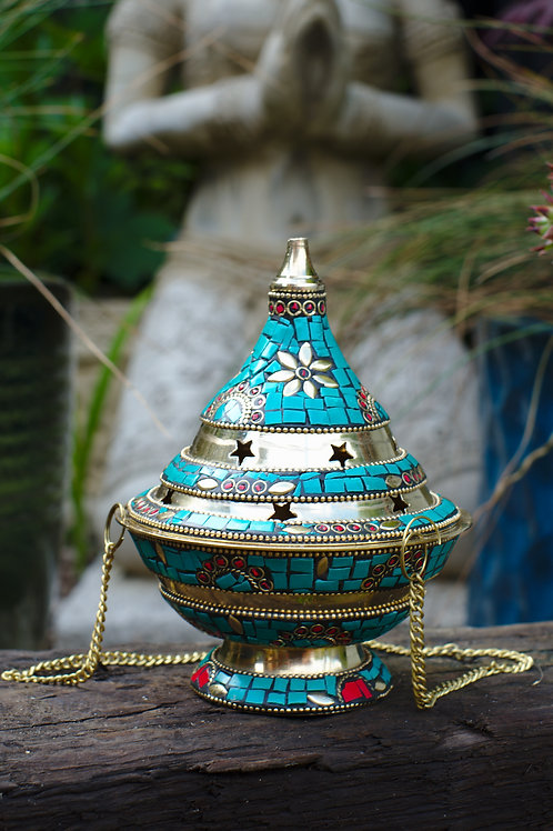 Inlaid Brass Incense Censer Turquoise 2
