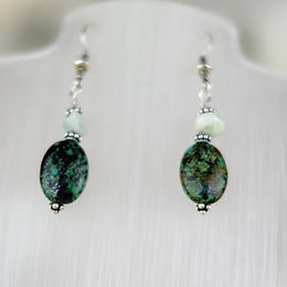 African Turquoise and Aquamarine Earrings