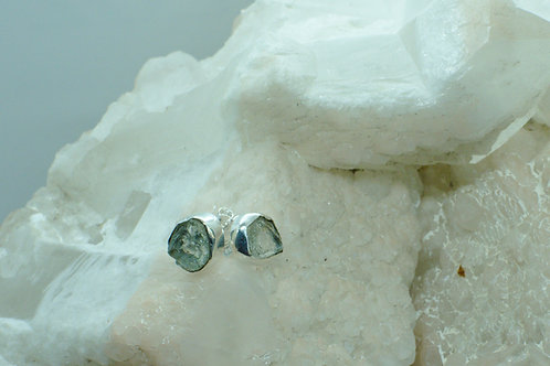Raw Aquamarine Sterling Silver Stud Earrings AQB