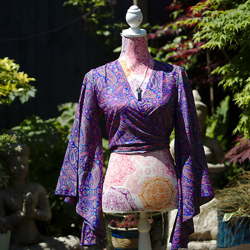 Recycled Sari Silk Butterfly Sleeve Top Dark Purple