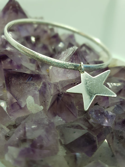 Heavy 925 Sterling Silver Bangle with Silver Star