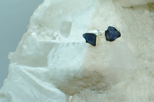 Raw Tanzanite Sterling Silver Stud Earrings TAD