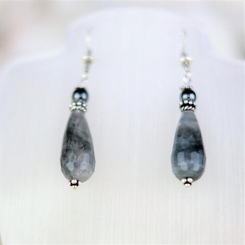 Grey Quartz and Haematite Silver Earrings