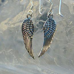 Angel Wing Sterling Silver Drop Earrings