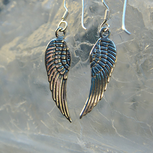 Angel Wing Sterling Silver Drop Earrings