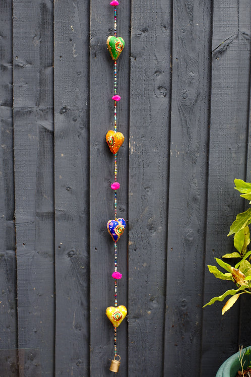 Fabric Heart Hanging String Decoration