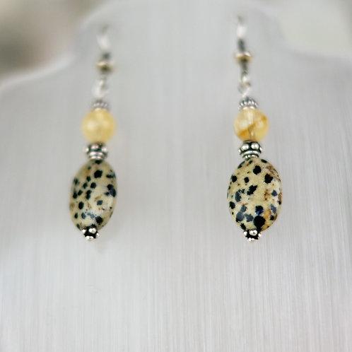 Dalmation Jasper and Citrine Silver Earrings