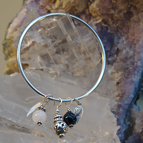 Heavy Weight Sterling Silver Multi Charm Bangle
