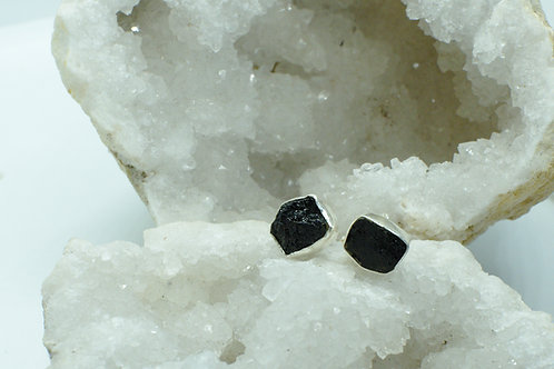 Raw Black Tourmaline Sterling Silver Stud Earrings TA