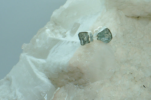 Raw Aquamarine Sterling Silver Stud Earrings AQC