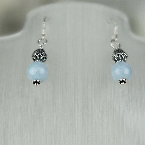 Aquamarine and Ornate Silver Bead Earrings