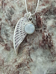 Angel Wing & Rainbow Moonstone (Spectrolite) Pendant