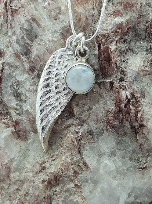 Angel Wing & Rainbow Moonstone (Spectrolite) Pendant