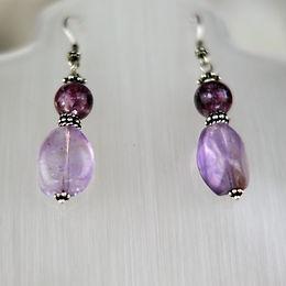 Amethyst and Lepidolite Silver Earrings