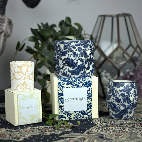 Damask Leaf Design Handmade Candles