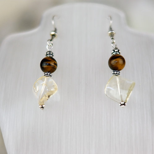 Citrine and Tigers Eye Silver Earrings