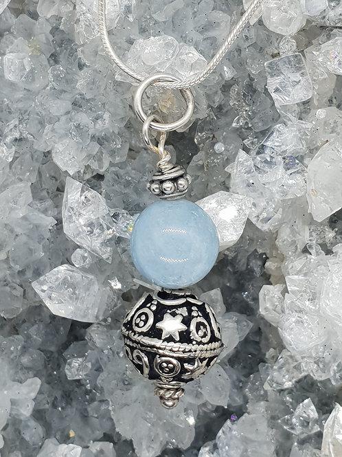 Cool Aquamarine and Silver Pendant