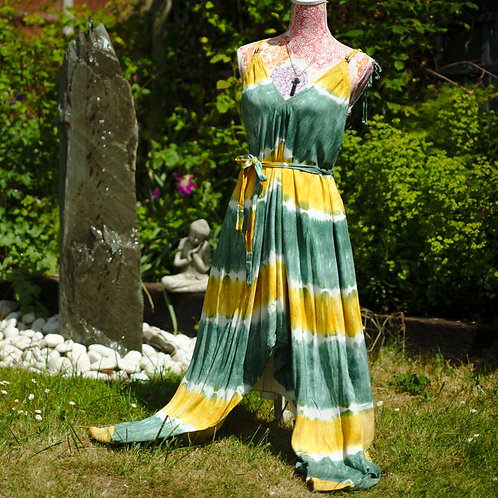 Bali Afgani Green & Yellow Tie-Dye Playsuit
