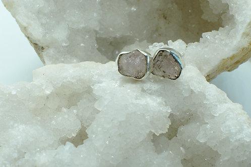Raw Morganite Sterling Silver Stud Earrings MD