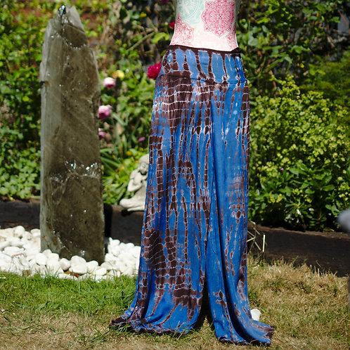 Cotton Tie-Dye Palazzo Trousers Blue