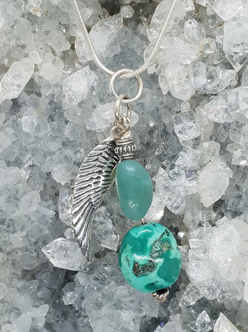 Turquoise, Amazonite and Silver Angel Wing Pendant