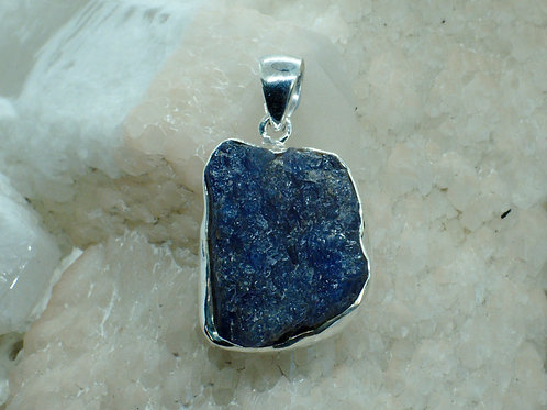 Chunky Raw Tanzanite Sterling Silver Pendant TG