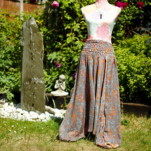 Recycled Sari Silk Harem Trousers Grey