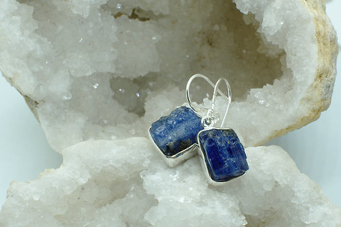 Raw Tanzanite Sterling Silver Drop Earrings TAA
