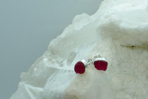 Raw Ruby Sterling Silver Stud Earrings RA
