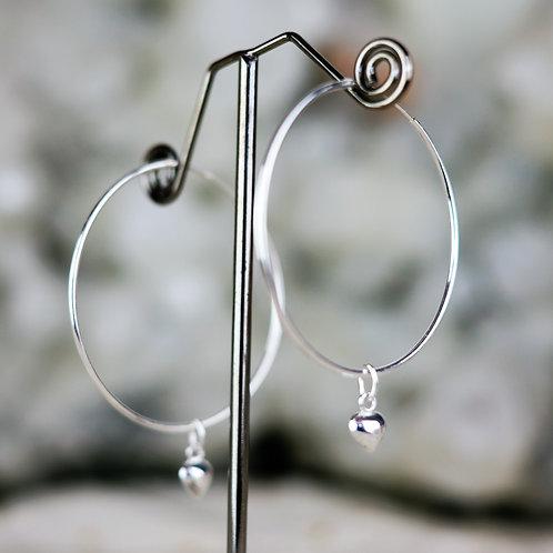 Silver Heart Hoops