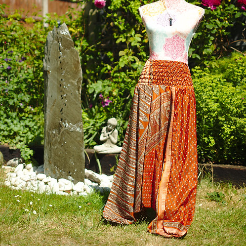 Recycled Sari Silk Harem Trousers Rust