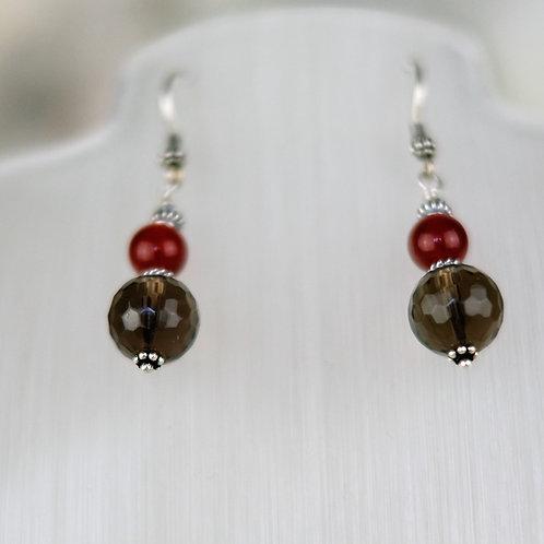 Faceted Smokey Quartz & Carnelian Sterling Silver Drop Earrings