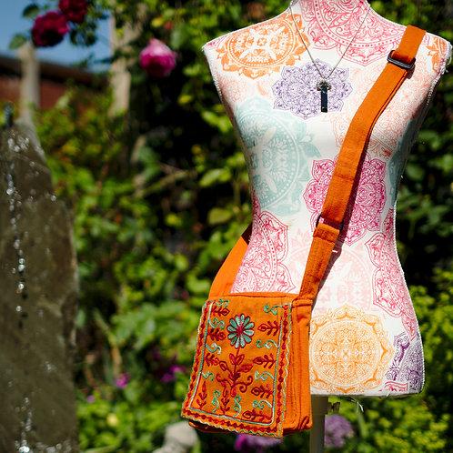 Canvas Embroidered Cross Body/Shoulder Bag