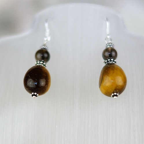 Tigers Eye and Smokey Quartz Earrings