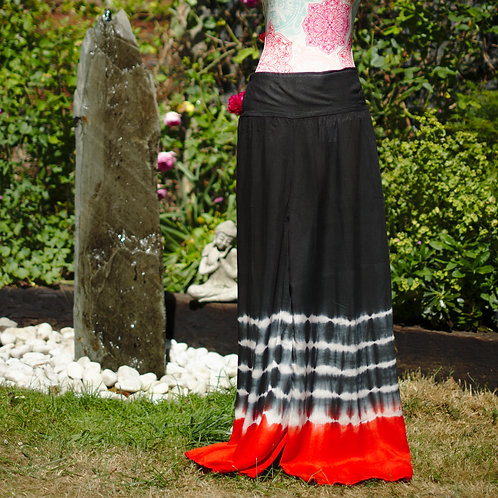 Cotton Tie-Dye Palazzo Trousers Black/Red