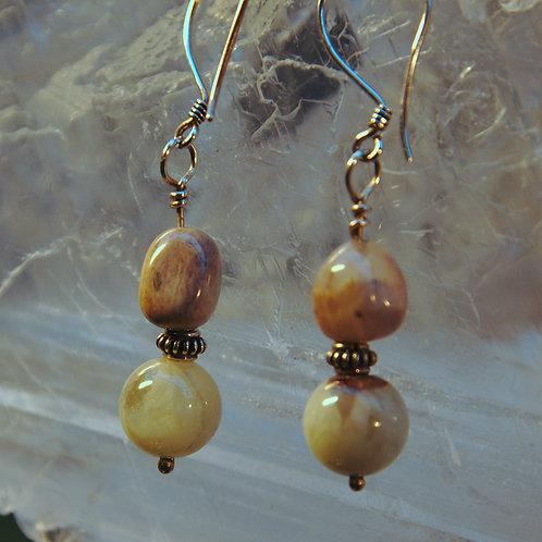 Morganite & Jasper Sterling Silver Drop Earrings