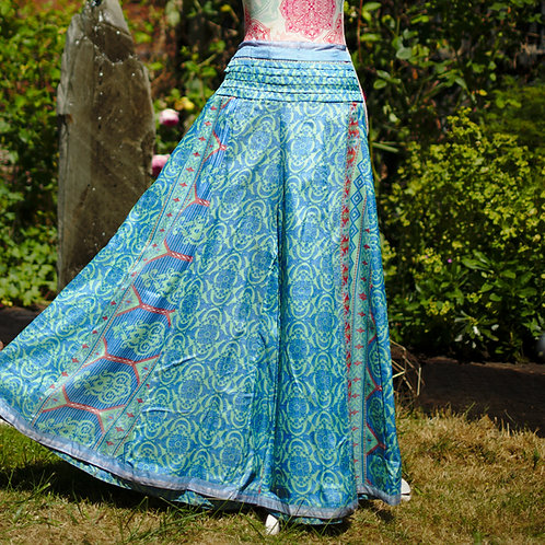 Recycled Sari Silk Umbrella Trousers Turquoise Geometric